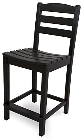 POLYWOOD TD101BL La Casa Caf Counter Side Chair, Black