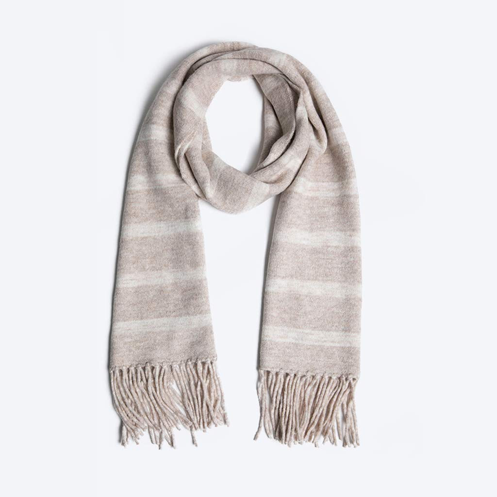 Fashion Warm Rice White Scarf Bright Silk Striped Scarf Female Autumn Winter Thick Shawl