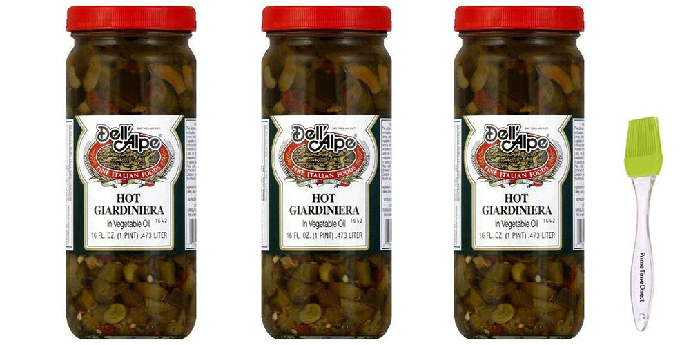 Dell'Alpe Hot Giardiniera 16 oz (Pack of 3) Bundle with PrimeTime Direct Silicone Basting Brush in a PTD Sealed Bag