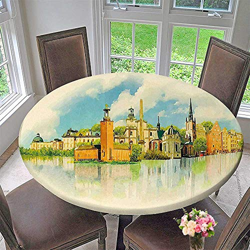 (Mikihome Luxury Round Table Cloth for Home use Scenery Painting Design of Stockholm Landmark for Buffet Table, Holiday Dinner 59