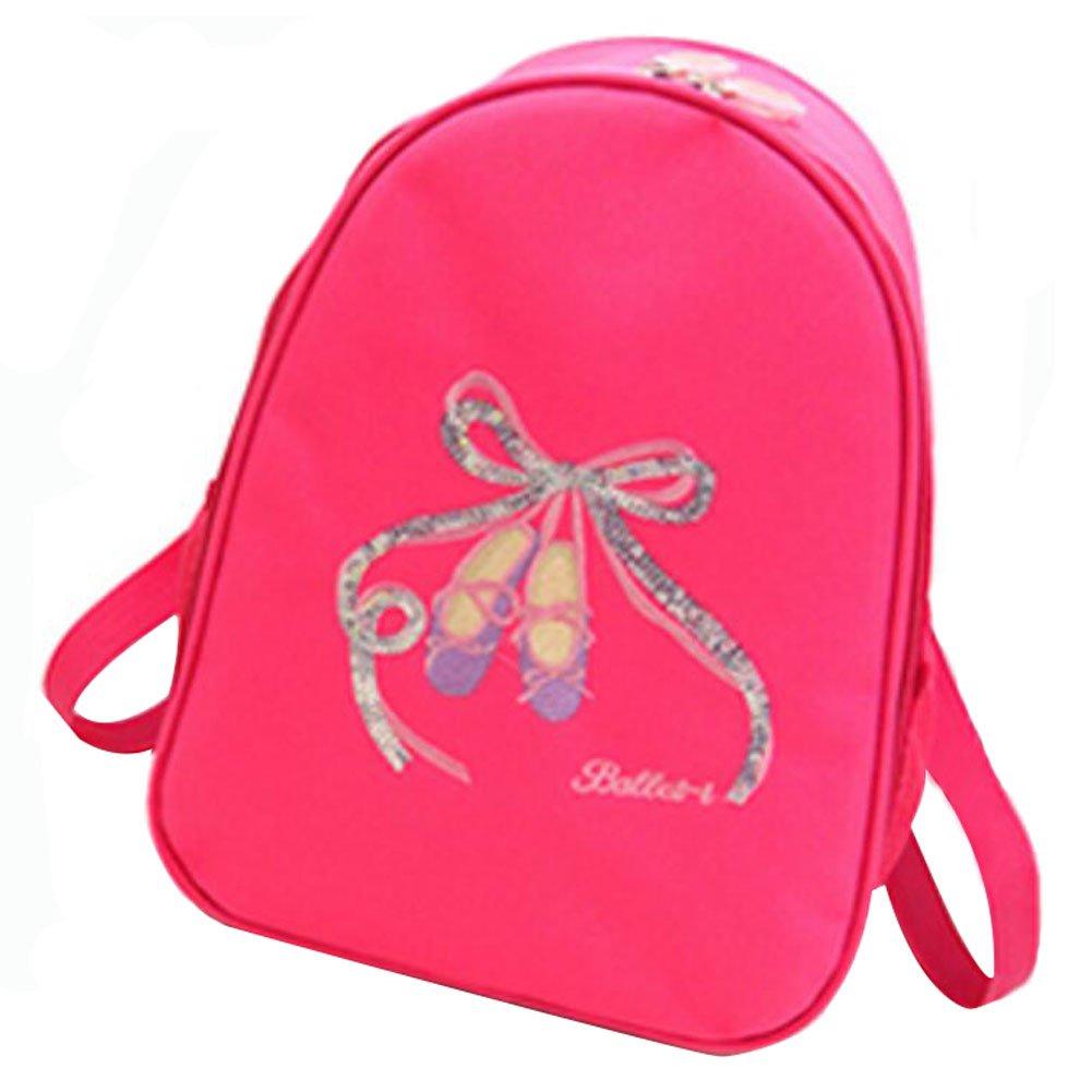 キッズダンスバッグ旅行バックパックスクールバッグGirlsバックパックサイドバッグ – ローズレッド B01HY05IPK