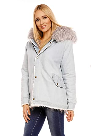 Mayaadi Damen Jacke Jeans Parka Mantel Kapuze XXL Fell Kunstfell Pelz  Herbst Winter 8038  Amazon.de  Bekleidung f07d7b0999
