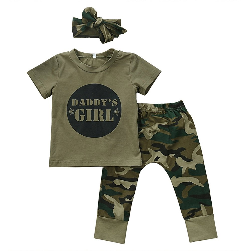 GRNSHTS Baby Girls Boys Father's Day Outfit Daddy's Baby Camouflage Pants Set (80/6-12 Months, Daddy's Girls)