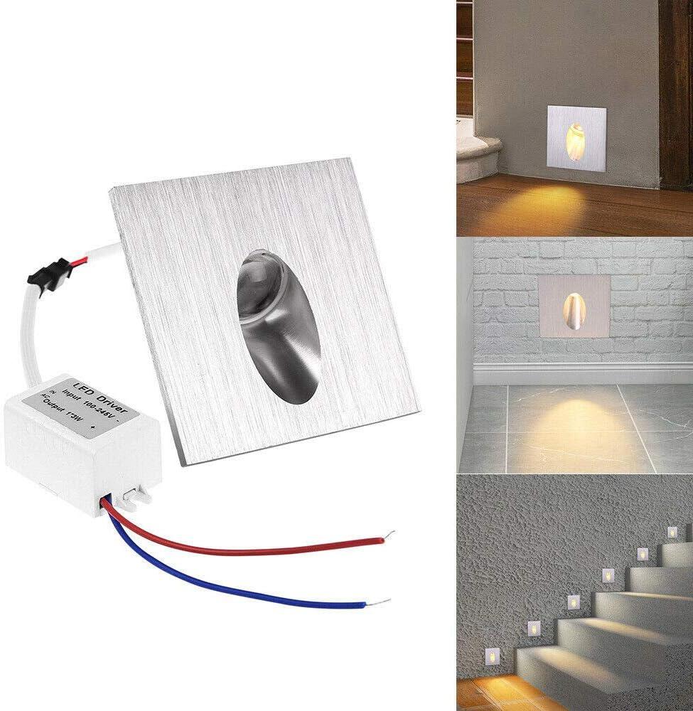 10 x 1W Led Lampe Murale Spot Carré Encastrable Coin Mur Escalier Blanc Chaud