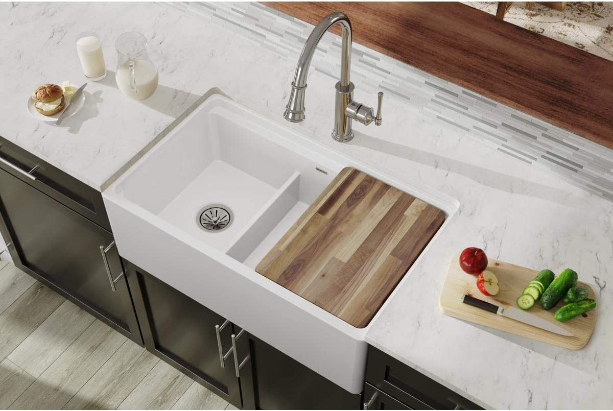 Farmhouse Sink.Elkay Swuf3320wh Fireclay 60 40 Double Bowl Farmhouse Sink With