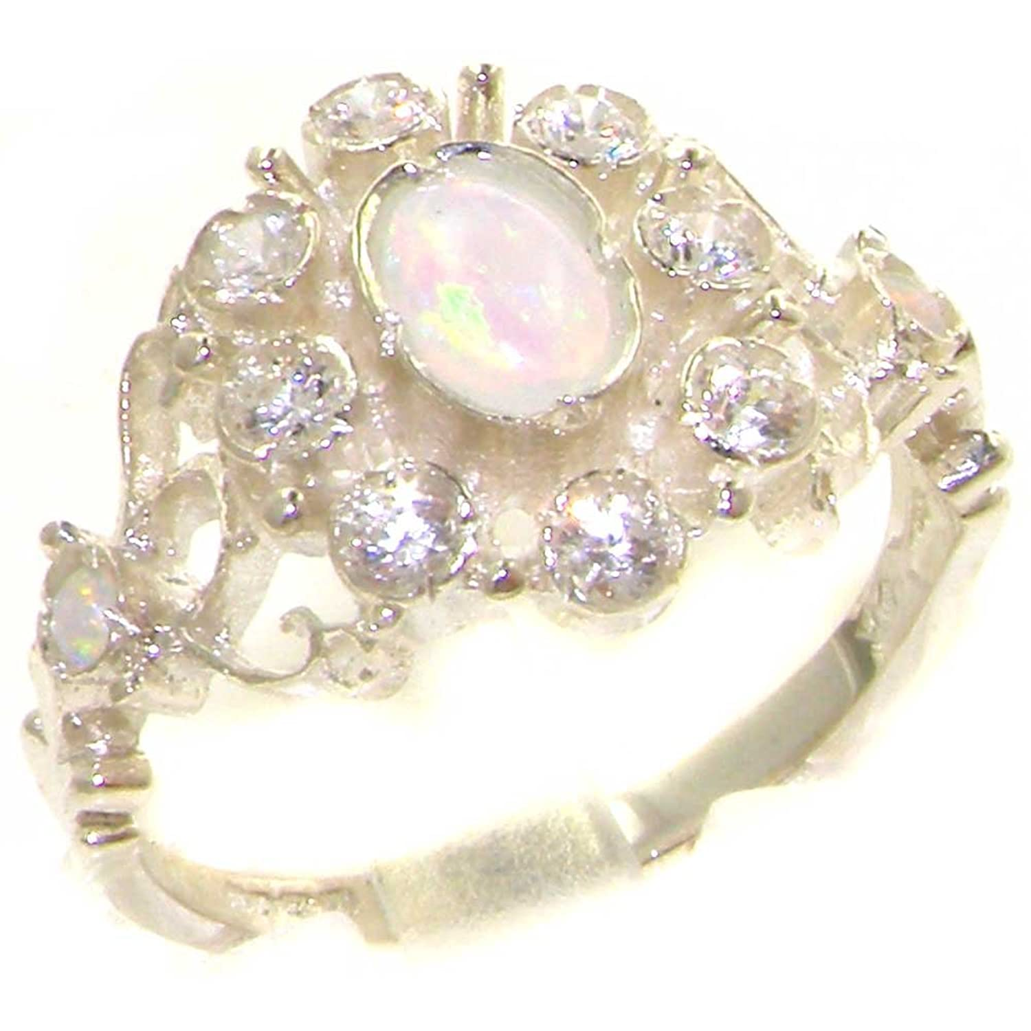 14k White Gold Natural Opal and Diamond Womens Cluster Ring (0.3 cttw, H-I Color, I2-I3 Clarity)