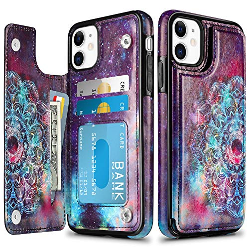 HianDier Wallet Case for iPhone 11 6.1-inch Slim Protective Case with Credit Card Slot Holder Flip Folio Soft PU Leather Magnetic Closure Cover for 2019 iPhone 11 iPhone XI, Mandala