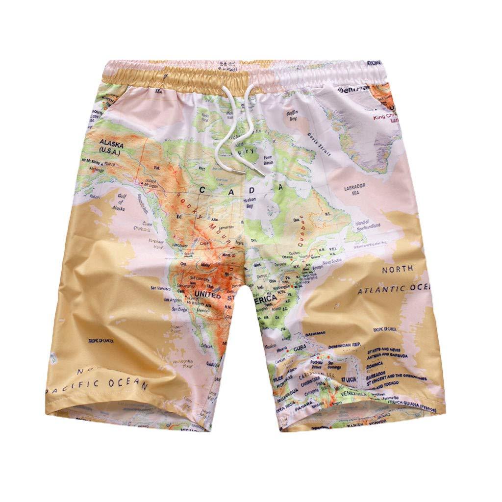 Dacawin_ Men Pants Mens Summer Swim Trunks - Hawaiian Style Casual Loose Lightweight Quick Dry Beach Shorts