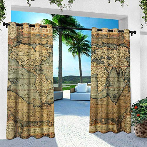 Fashion Reproduction - leinuoyi World Map, Outdoor Curtain Extra Wide, Ancient Old Chart Vintage Reproduction of 16th Century Atlas Print, Fashions Drape W120 x L96 Inch Sand Brown Slate Blue