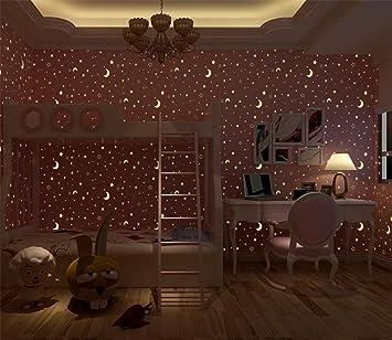 Leuchtende Tapete/Sterne, Mond/Mädchen Schlafzimmer/Sterne ...