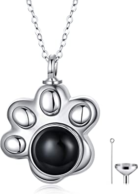 Ash Memorial Cremation Pet Sterling Silver Round Pendant with Chain