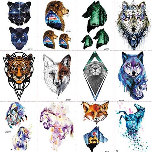 12 Pieces/Lot COKTAK Forest Waterproof Flash Geometry Fox Temporary Tattoo Stickers Women Watercolor Arm Tatoos Men Body Art Diamond Lion Wolf Leopard Arm Tattoo Paper Paste 10x6cm from COKTAK
