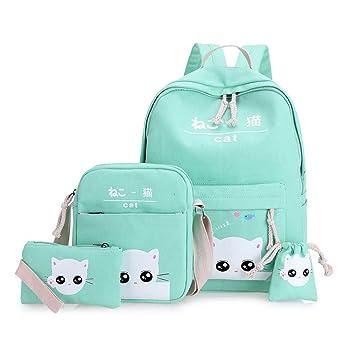 Espeedy 4 piezas/Set moda coreano mujeres mochila lienzo precioso gato estampado de dibujos animados bolsas de mano caso dama chica escuela bolsa: ...