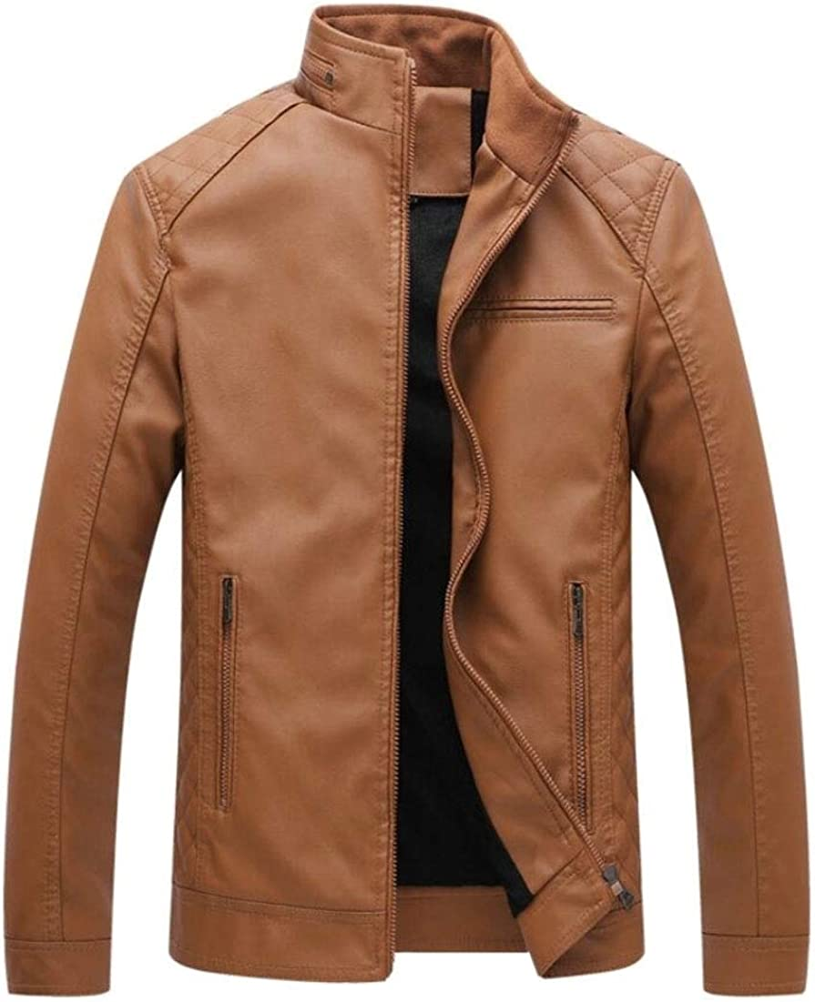 ONTBYB Mens Faux-Leather PU Fleece Motorcycle Zipper Stand Collar Stylish Jackets