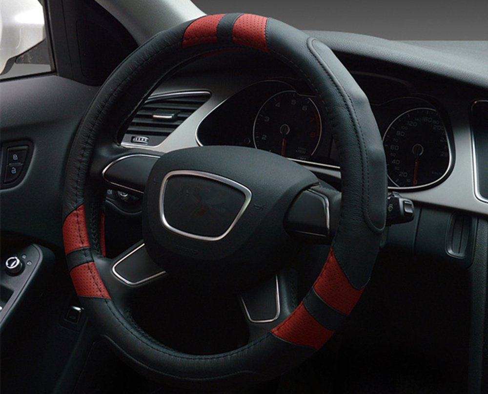 Amazon.com: Dee-Type Leather Steering Wheel Cover Universal 15 inch Black & Red: Automotive