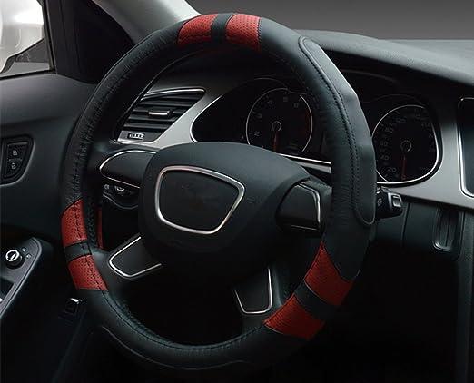 Dee-Type cubierta universal de volante de cuero, 38cm, negra y roja: Amazon.es: Coche y moto