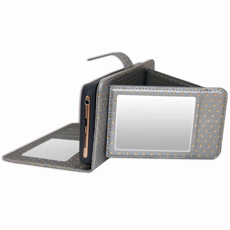 PH26/® Etui housse folio pour Altice S60 /à pois dor/és en /éco-cuir violet avec porte cartes miroir et surpiqures apparentes