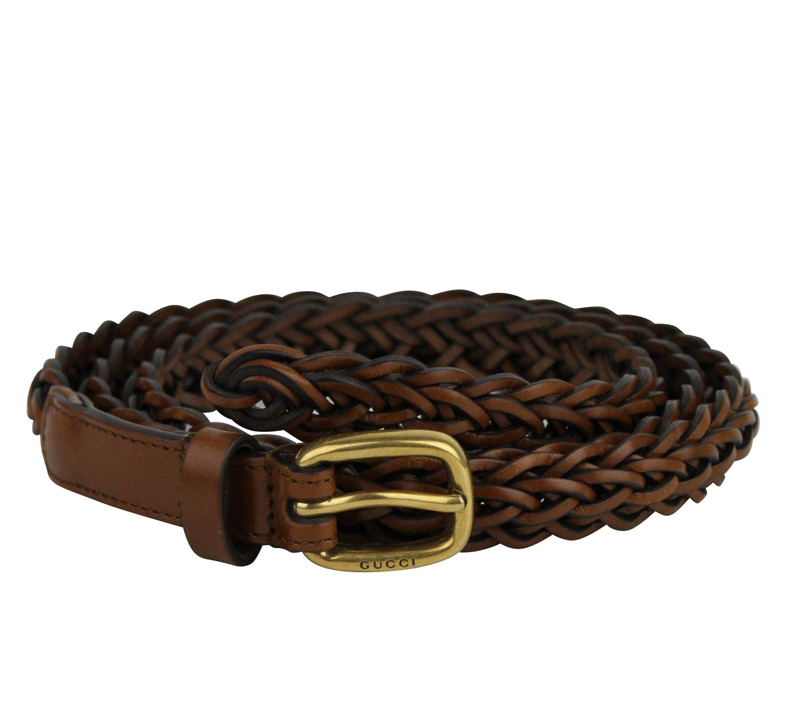 b5318f0ab59 Gucci Women s Gold Buckle Brown Braided Leather Skinny Belt 380607 2535  (95 38)