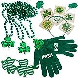 St. Patrick's Day Dress up Set: Shamrock Beads Necklace's, Tattoos, Shamrock Shutter Glasses, Head Bopper, & Acrylic Irish Print Gloves