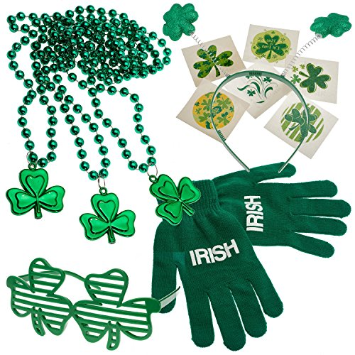 St. Patrick's Day Dress up Set: Shamrock Beads Necklace's, Tattoos, Shamrock Shutter Glasses, Head Bopper, & Acrylic Irish Print Gloves