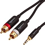AmazonBasics 3.5mm to 2-Male RCA Adapter Audio Stereo Cable - 8 Feet