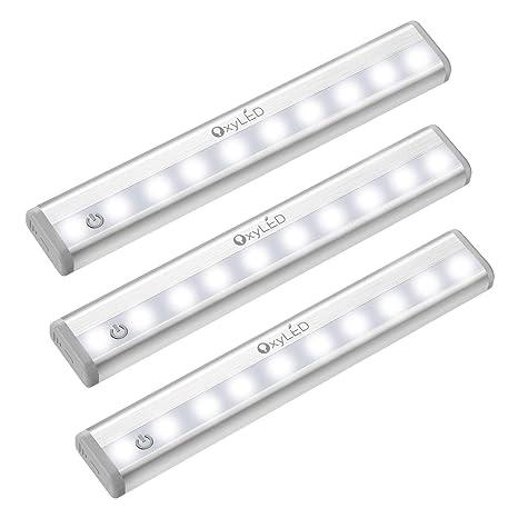 OxyLED Sensor de movimiento Luz de armario, (10 LED 3Packs) Regulable táctil regulable,Gabinete de LED inalámbrico Luz de empuje,Funciona con batería ...