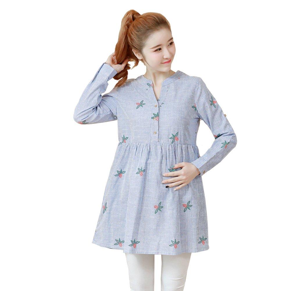 JUNZENIA Embroidery Dress Maternity Women Top Pregnant Summer Clothes