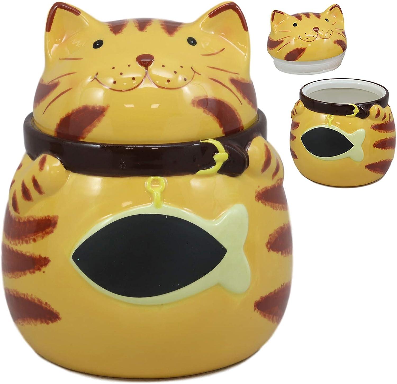 Ebros Ceramic Feline Orange Tabby Fat Cat With Giant Fish Belly Cookie Jar 7.25