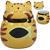 """Ebros Ceramic Feline Orange Tabby Fat Cat With Giant Fish Belly Cookie Jar 7.25""""Tall Decorative Kitchen Accessory Figurine As"""