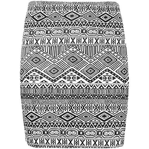 aztque pour femmes Animal cossais RAYURE BD imprim pied de poule femme extensible Ceinture lastique Robe moulante Mini jupe Black & White Aztec