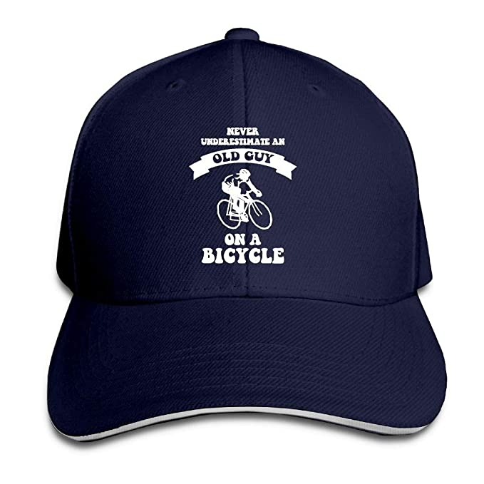 Never Underestimate an Old Guy On A Bicycle Sandwich Hats Baseball Cap Hat  Snapback Hat Dad Hat at Amazon Men s Clothing store  7e6f4b74c660