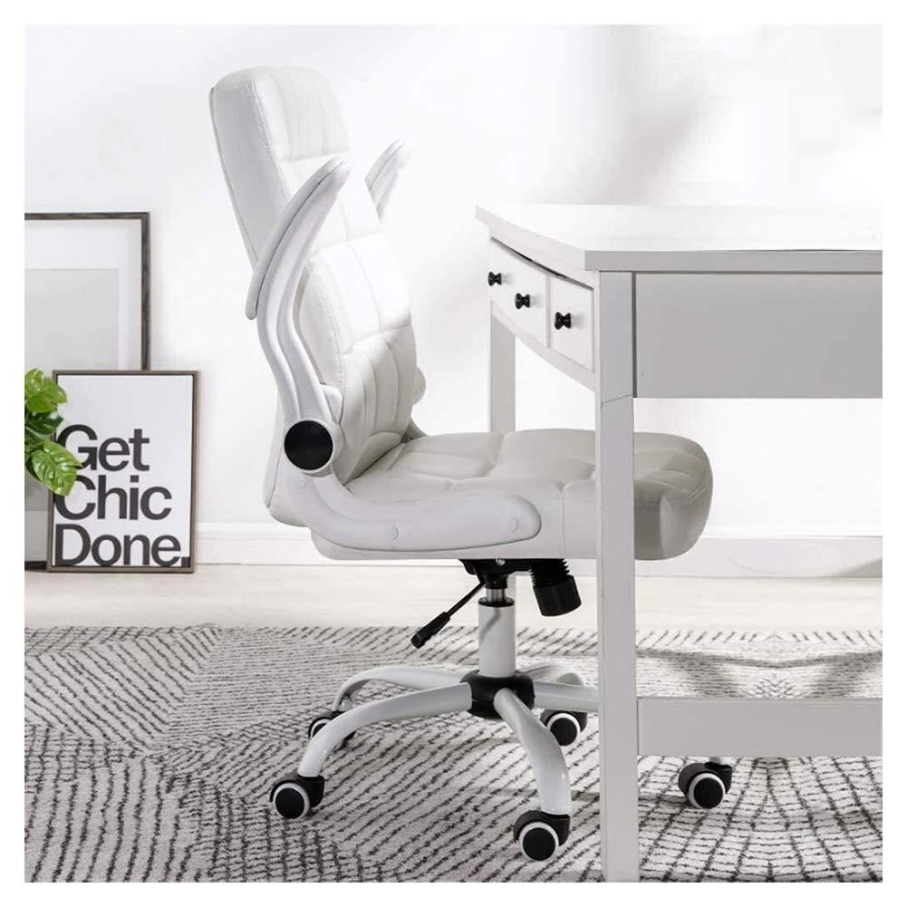 Kontorsstol skrivbordsstol stolar verkställande stol dator kontor svängbar skrivbord uppgift hem falskt läder flip-up armar justerbar mottagning möte studierum (färg: vit) Brun