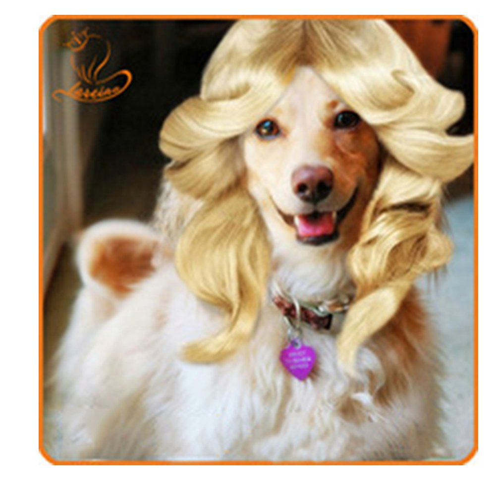 WORDERFUL Dog Wig Hair Cat Accessories Fashion Halloween Pet Wigs (Rosyred)