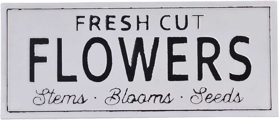 NIKKY HOME Fresh Cut Flowers Vintage Metal Wall Spring Sign Decor 24.02 x 0.67 x 10.04 Inches, White
