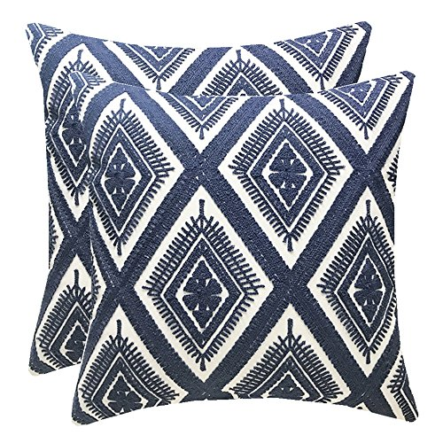 SLOW COW Cotton Embroidery Decorative Throw Pillow Covers, Geometric Invisible Zipper Cushion Covers for Living Room, 18x18 Inch, Set of 2.