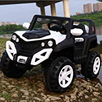GetBest A 6500 Electric Ride on Jeep for Kids with 12V Battery, Swing Option, Music System, Spring Suspension and Remote Control (White)