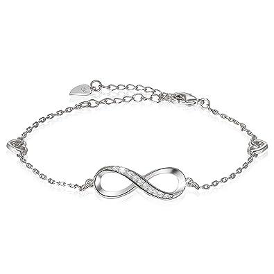 de7c9443672 Bijoux Fantaisie Charms Bracelet Femme Amour Symbole Infinity Infini  Couleur Argent Zircon Cadeau de Noël Nouvel