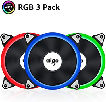 Aigo Aurora - Ventilador de 120 mm, color azul, RGB PC ...