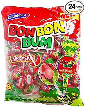 Colombina Bon Bon Bum Bubble Gum Pops Watermelon (Pack of 24)