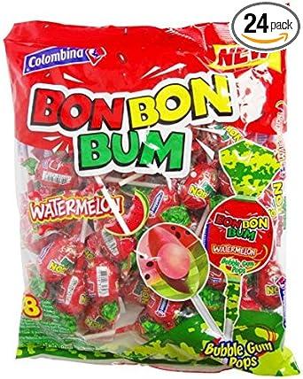 Colombina Bon Bon Bum Bubble Gum Pops Watermelon (Pack of 24)