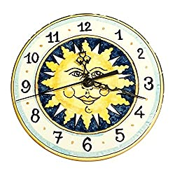 CERAMICHE D'ARTE PARRINI - Italian Ceramic Wall Clock Decorated Sun Hand Painted Made in ITALY Tuscan Art Pottery