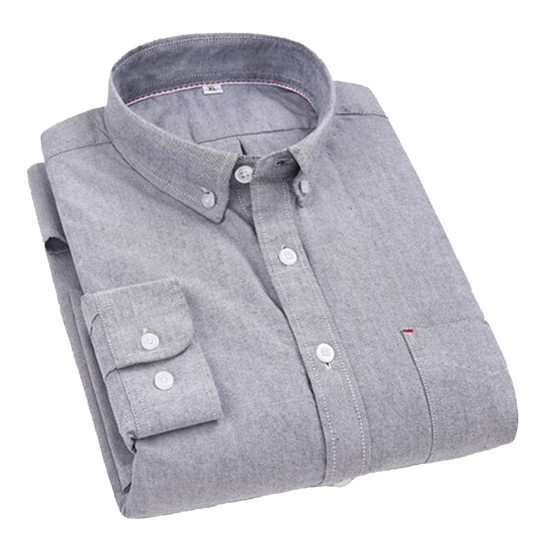 ARTFFEL Men Long Sleeve Formal Slim Fit Cotton Plain Button Down Dress Work Shirt