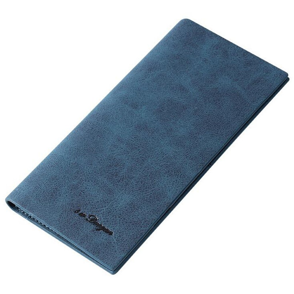 0.5cm Soft Leather Durable Slim Wallets Long Bifold Multi-Card Wallet (Blue)