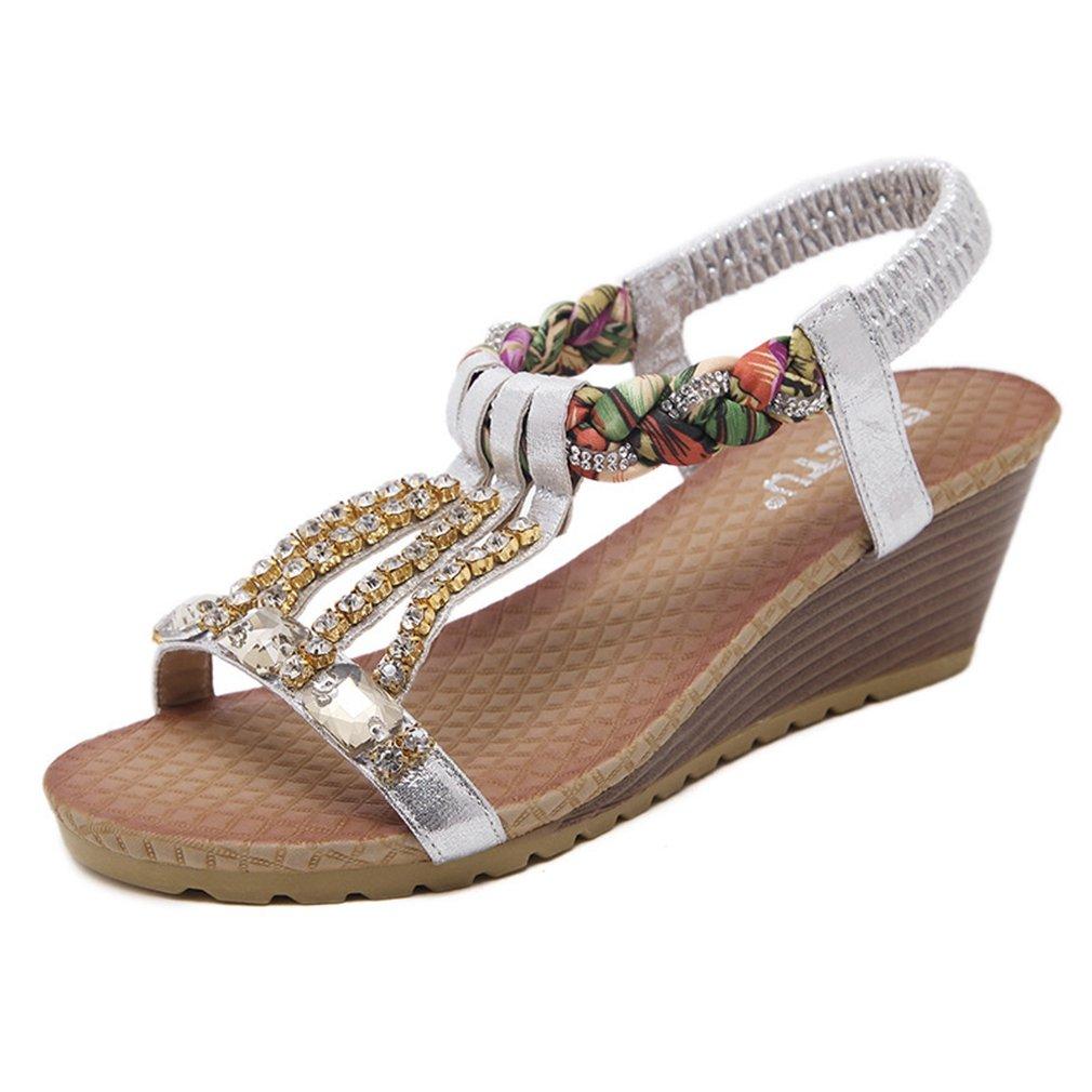 AVENBER Womens Wedge Sandal Platform Glitter Rhinestone Arch Support Bohemia Comfy Dress Shoes B07CKD9HZ8 4 B(M) US|Golden