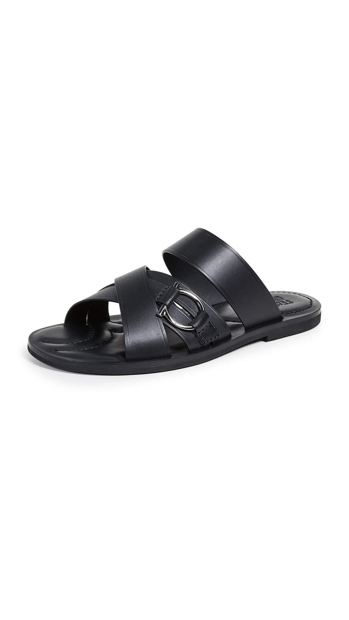 Salvatore Ferragamo Men's Atina Leather Sandals, Black, 8 M US