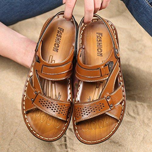 Sandali della spiaggia di estate degli uomini di estate degli uomini nuovi di modo degli uomini Sandali di ventilazione di svago, colore giallo, UK = 9,5, EU = 44