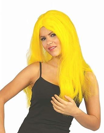 Peluca larga lisa amarilla