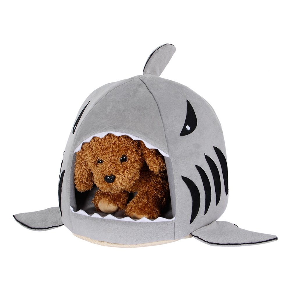 AccMart Shark Pet House Washable Dog Cave Bed with Removable Cushion and Waterproof Bottom for Small Pet up to 6 Pounds, Grey