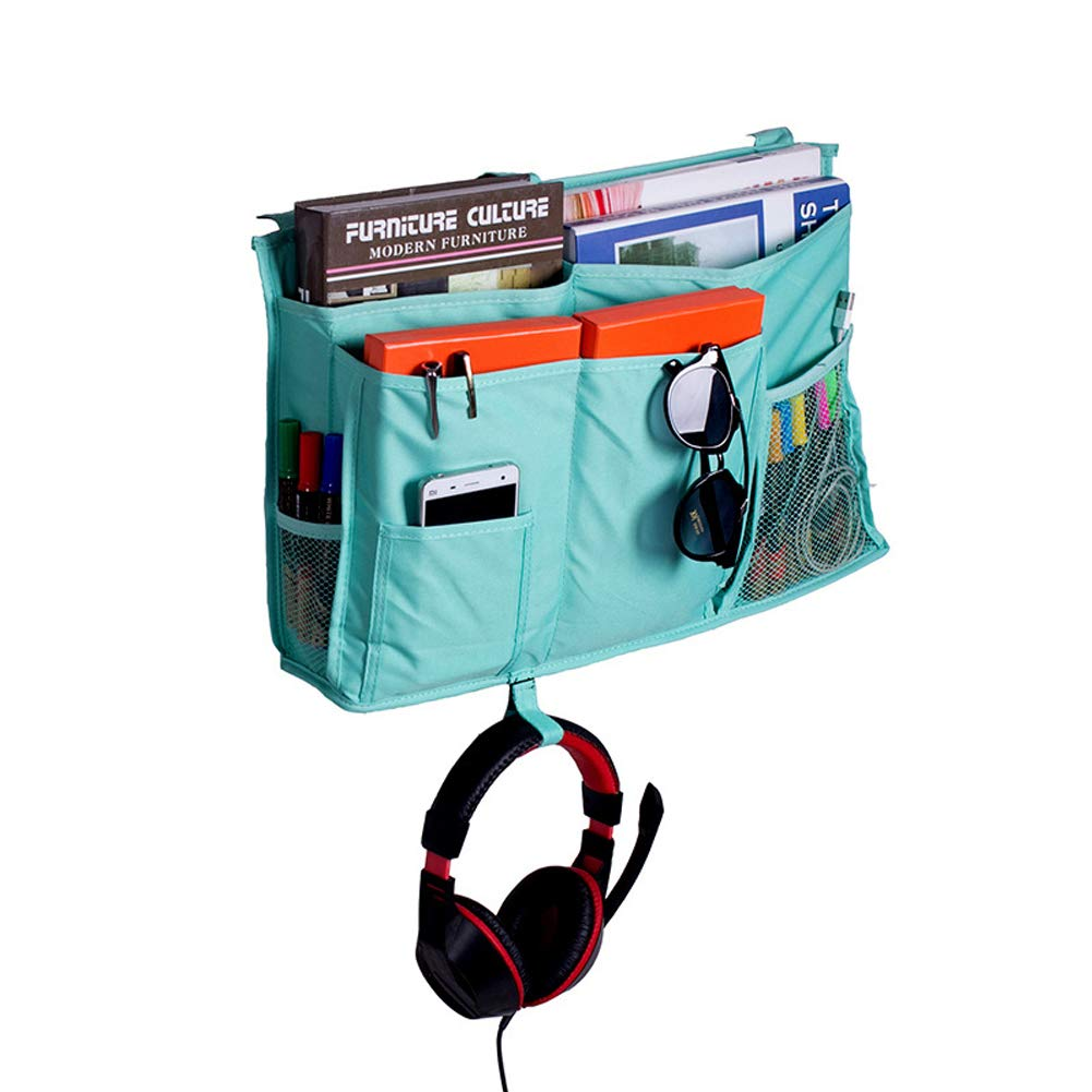 8 Pockets Hanging Bedside Caddy Organizer, Bed Pockets For Dorm Bedroom Bunks Bed TV Remote Controller Holder Baby Cat Stroller Nursery Diaper Cup Holder Organizer HGJ68-E (Grey) HANSHI