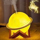INGEQUIS Humidificador Forma Planeta con 2 Modos de Humidificación Silenciosa, Difusor LED de Aromaterapia, Función de Lámpar
